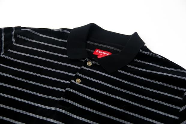 Supreme - Striped Velour Polo Shirt